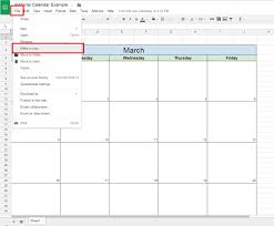 2018 calendar google sheets download