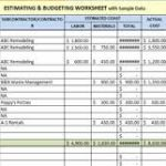construction estimating spreadsheet template download