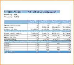 cost comparison excel template download