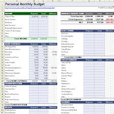 personal monthly budget template download