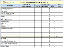 residential construction budget template excel download
