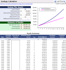 savings calculator managemet spreadsheet download