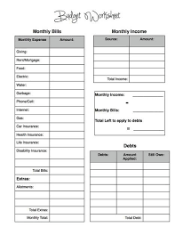 simple budget worksheet printable download