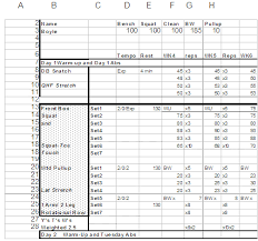 workout plan template excel download