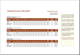 annual leave record spreadsheet download