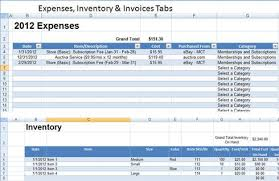 expenses inventory & invoices tabs spreadsheet download