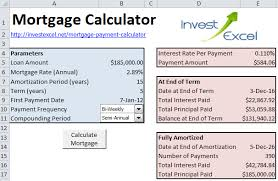 mortgage payment calculator excel template download