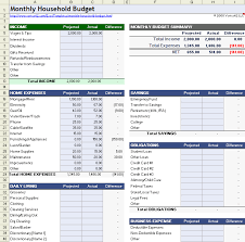 monthly household budget worksheet download