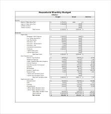 monthly household expenses worksheet download