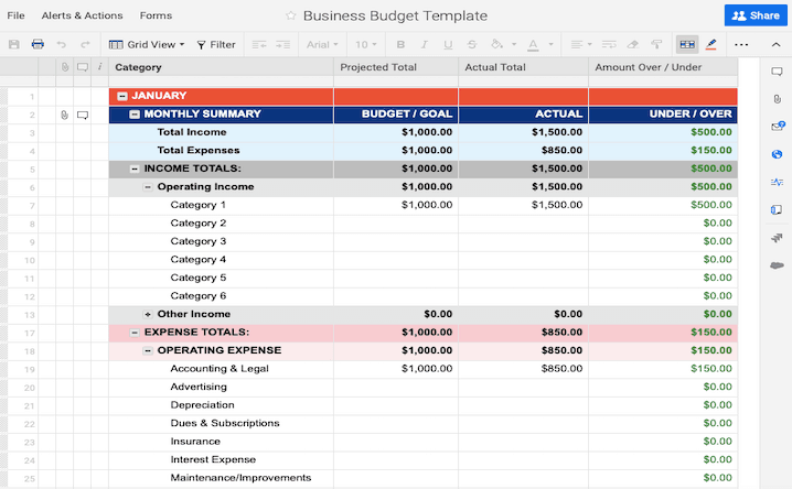 2020 Business Budget Template Monthly Sumarry