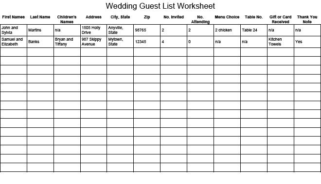 2020 Wedding Guest List Worksheet Template Free Download