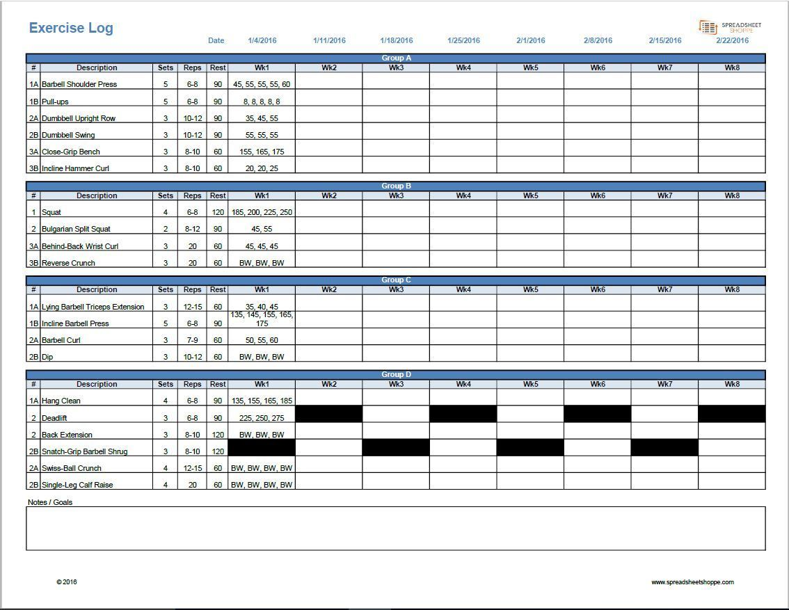 8 week Workout hypertrophy spreadsheet template