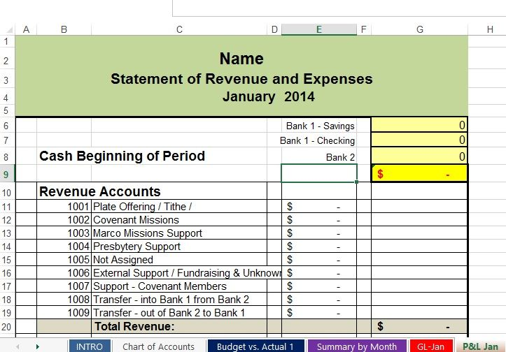 Free Church Accountng Spreadsheet Statement Revenue And Expense Template