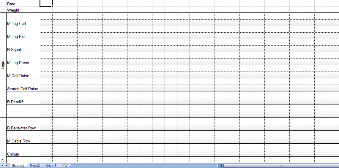 strength training and weightlifting spreadsheet workout log
