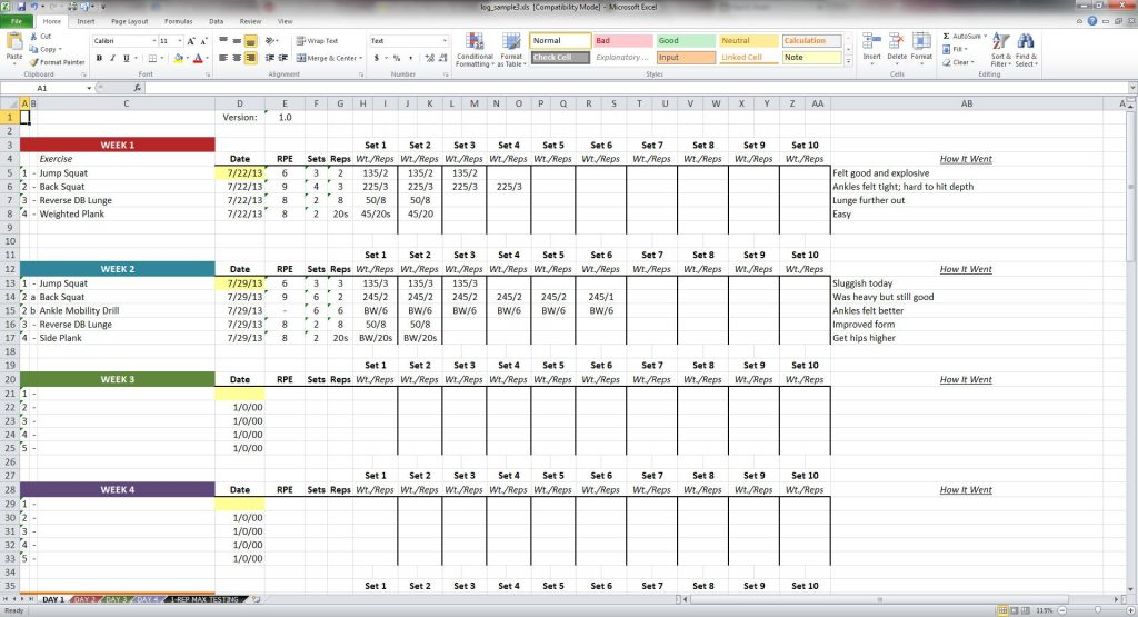 volume workout spereadsheet template weight lifting spreadsheet example-training calculator tracking