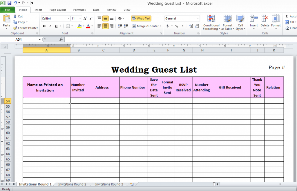 wedding guest list spreadsheet google doc wedding guest list free download
