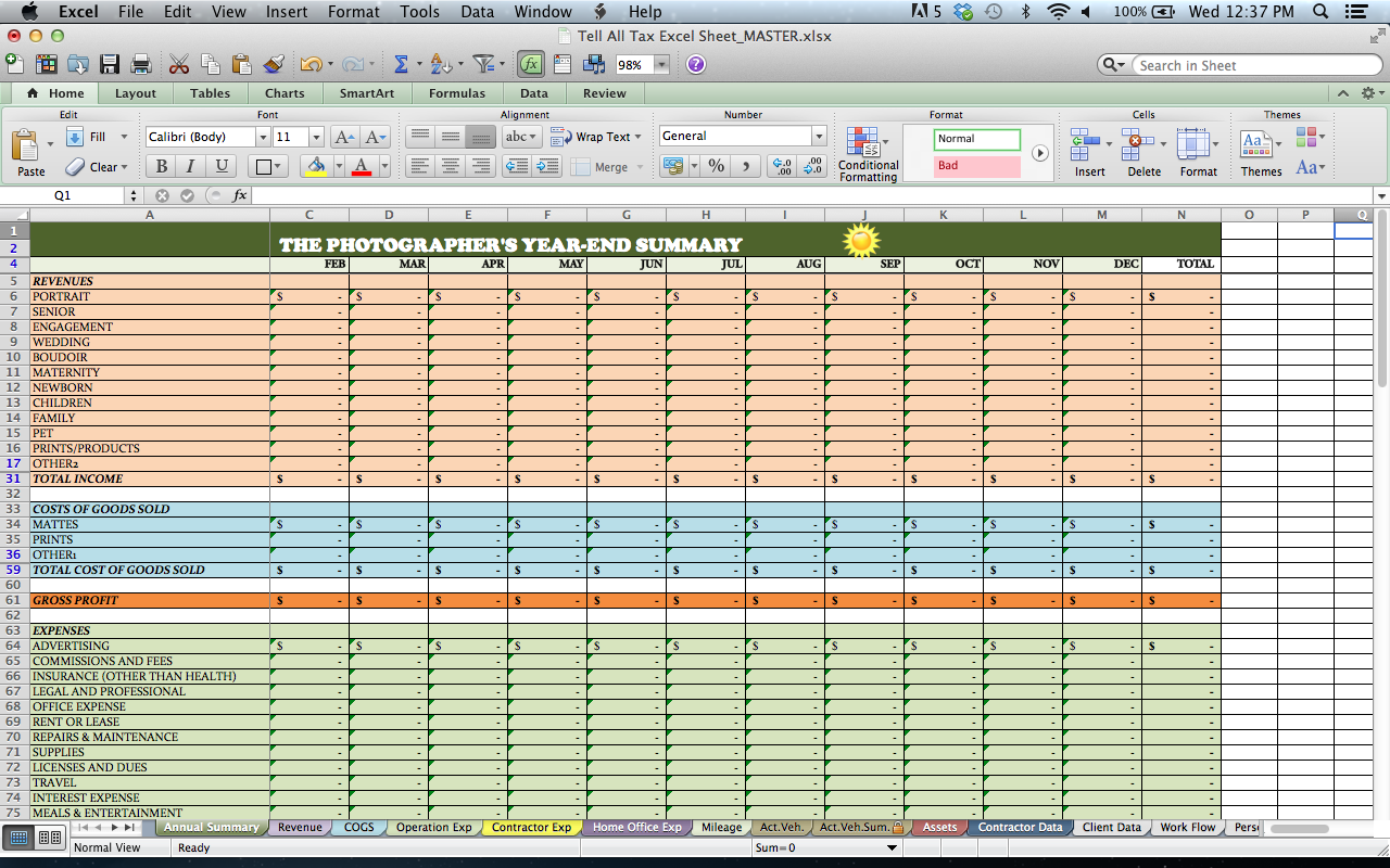 2020 tax planning excel spreadsheet for photography year end