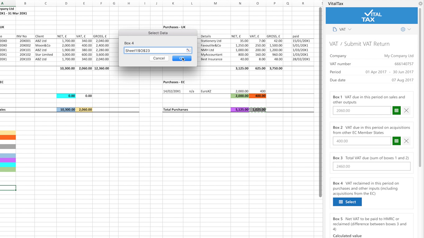 VAT return spreadsheets vitaltax databinding income personal spreadsheet templates