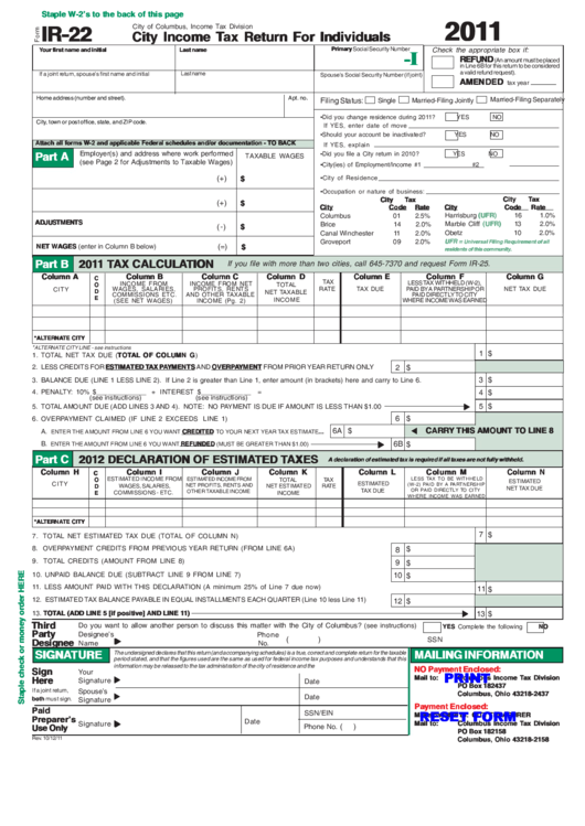form IR 22 income tax division city income tax return for individuals