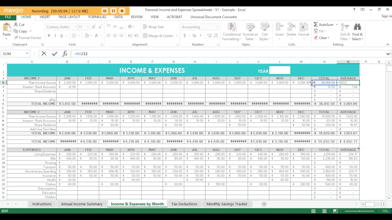 how to create an expense report in excel and personal income expense spreadsheeet for tax